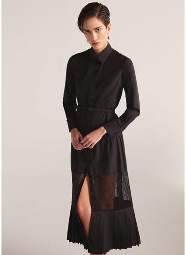 Beymen Collection Dantel Garnili Kemerli Pileli Midi Elbise Siyah